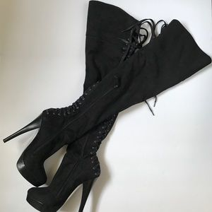 Black suede OTK BeBe lace up boots size 7